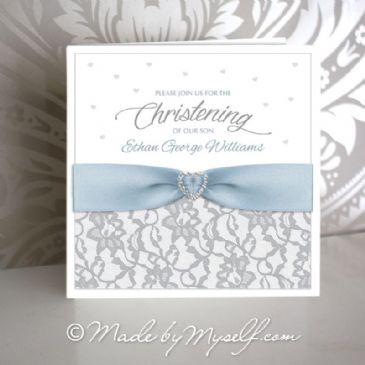 Lace and Ribbon Christening Invitation - Boy
